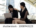 working woman sitting with... | Shutterstock . vector #1008943123