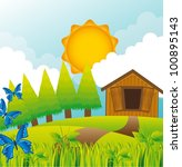 summer landscape with barn and...   Shutterstock .eps vector #100895143