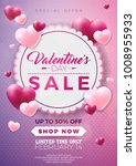 valentines day sale design with ... | Shutterstock .eps vector #1008955933