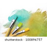 artist brushes with a half... | Shutterstock . vector #100896757