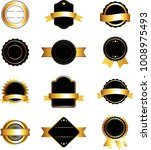 set of black and gold labels ... | Shutterstock .eps vector #1008975493