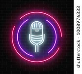 neon sign with microphone in... | Shutterstock .eps vector #1008976333