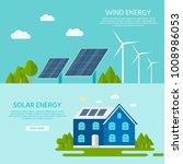 green modern house with solar... | Shutterstock .eps vector #1008986053