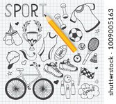 doodle sport fitness hand drawn ... | Shutterstock .eps vector #1009005163