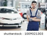 hand of car mechanic with... | Shutterstock . vector #1009021303