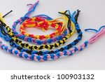 Friendship bracelets, double knot pattern - stock photo