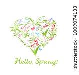 beautiful greeting card with... | Shutterstock .eps vector #1009074133