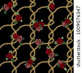chains vector pattern with rose ... | Shutterstock .eps vector #1009076347