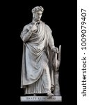Small photo of Dante Alighieri statue, by Paolo Emilio Demi, 1840. It is located in the Uffizi courtyard, in Florence.