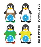 series of penguins numbered... | Shutterstock .eps vector #1009079563