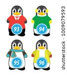 series of penguins numbered... | Shutterstock .eps vector #1009079593