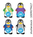 series of penguins numbered... | Shutterstock .eps vector #1009079617