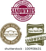 Vintage Style Fresh Deli Sandwich Stamps - stock vector