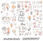 cute fall in love collection.... | Shutterstock .eps vector #1009090957