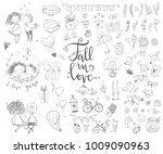 cute fall in love collection.... | Shutterstock .eps vector #1009090963