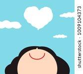 smiling happy girl looking up... | Shutterstock .eps vector #1009104373
