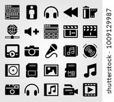 multimedia vector icon set.... | Shutterstock .eps vector #1009129987