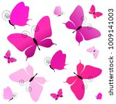 beautiful pink butterflies ... | Shutterstock .eps vector #1009141003