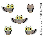 funny owls set flat design... | Shutterstock .eps vector #1009148923