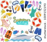 set of beach summer holidays... | Shutterstock .eps vector #1009152193