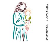 jesus is holding a child | Shutterstock . vector #1009152367