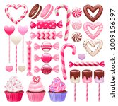 valentine's day sweets set  ... | Shutterstock .eps vector #1009156597