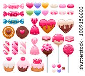valentine's day sweets set  ... | Shutterstock .eps vector #1009156603