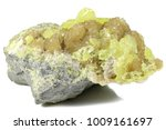 Small photo of native sulfur on barite from Tarnobrzeg/ Poland isolated on white background