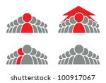 stylized group of people and... | Shutterstock .eps vector #100917067
