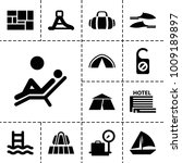 vacation icons. set of 13... | Shutterstock .eps vector #1009189897