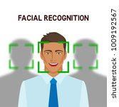 facial recognition concept. man ... | Shutterstock .eps vector #1009192567
