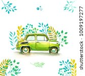vinage car  funny watercolor... | Shutterstock . vector #1009197277