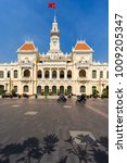 Small photo of HO CHI MINH, VIETNAM - NOVEMBER 23, 2017: View on Peopleâ??s Committee Building - French colonial style. Day time, good sunny weather