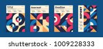 Set of geometric covers. Collection of cool vintage covers. Abstract shapes compositions. Vector. | Shutterstock vector #1009228333