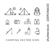 camping vector icon set | Shutterstock .eps vector #1009246633