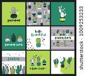 set of cute cactus lover...   Shutterstock .eps vector #1009253233