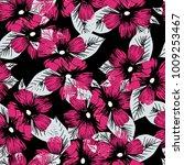 graphic hand drawn hibiscus... | Shutterstock .eps vector #1009253467