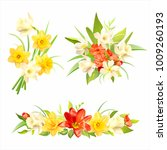 bouquets with spring flowers...   Shutterstock .eps vector #1009260193