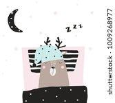 funny deer asleep in his bed.... | Shutterstock .eps vector #1009268977