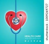 stethoscope  heart and... | Shutterstock .eps vector #1009269727