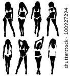 Collection of silhouettes of girls in bathing suits - stock vector