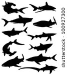 Collection of silhouettes of sharks - stock vector