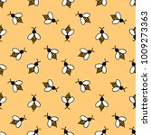 bee seamless doodle pattern | Shutterstock .eps vector #1009273363