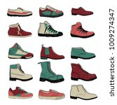 set of sports and classic shoes ...   Shutterstock .eps vector #1009274347