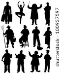 Collection of silhouettes of people of different professions - stock vector