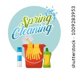 spring cleaning poster bucket... | Shutterstock .eps vector #1009283953