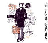 banner with stylish boy in... | Shutterstock .eps vector #1009291243