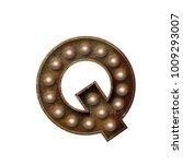 rusted metal letter q light... | Shutterstock . vector #1009293007