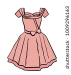 vintage pink dotted dress of... | Shutterstock .eps vector #1009296163