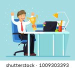business man get gold trophy... | Shutterstock .eps vector #1009303393